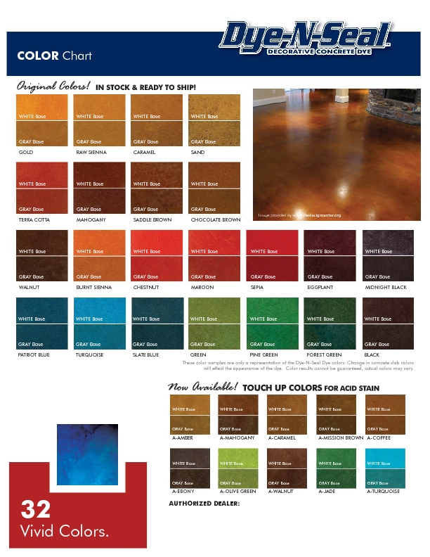 Dye N Seal color chart